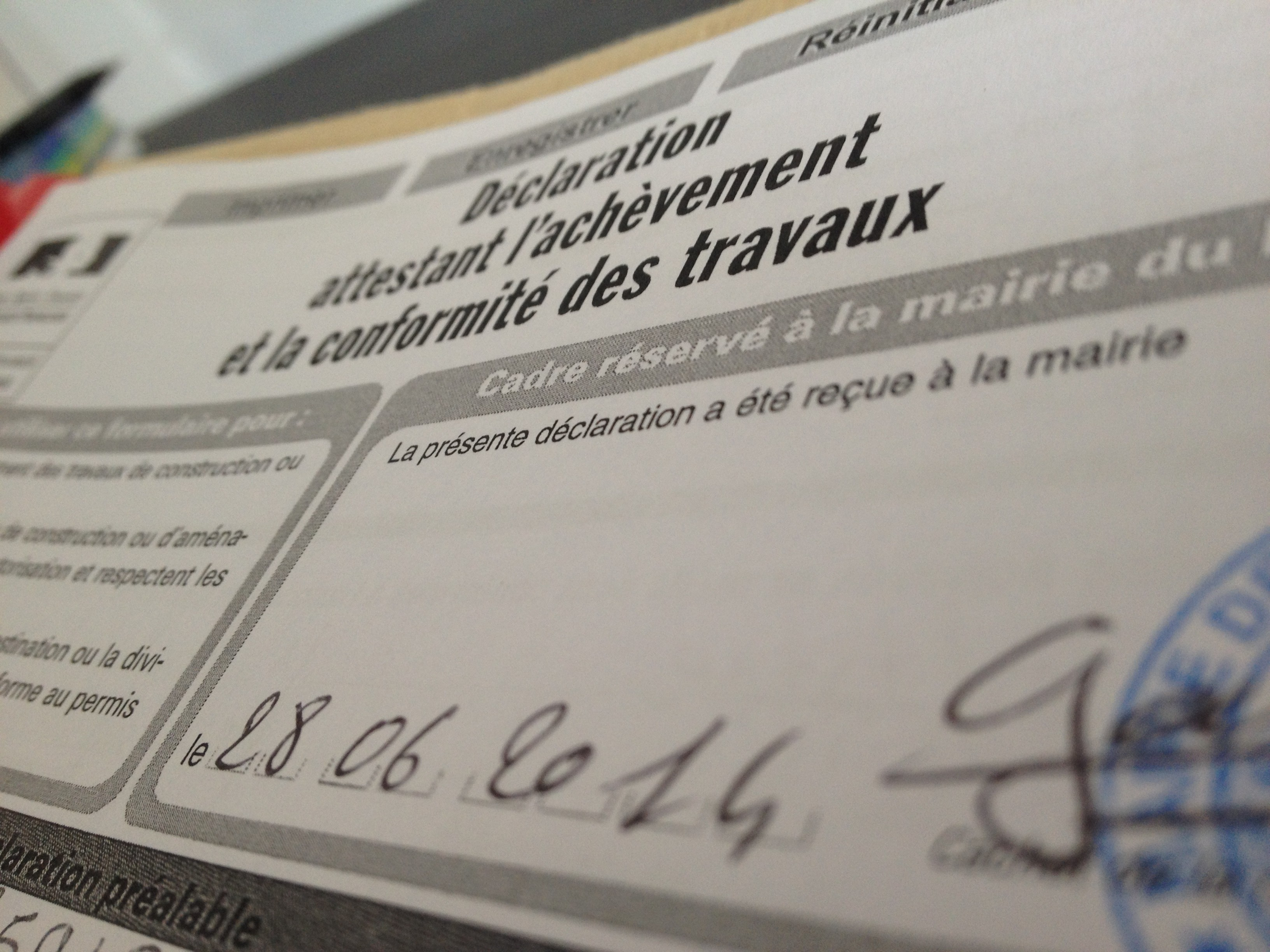 Attestation fin de chantier